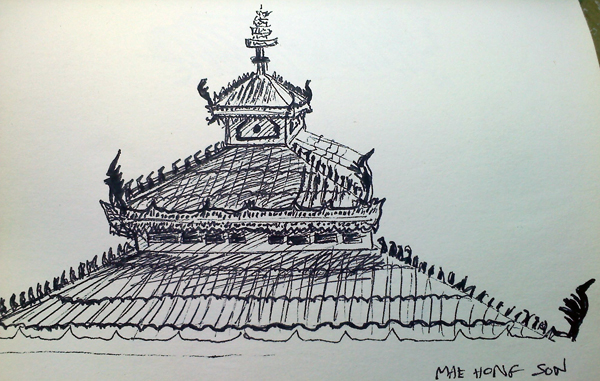 Temple roof, Mae Hong Son, Thailand -- right across the street from the airport!