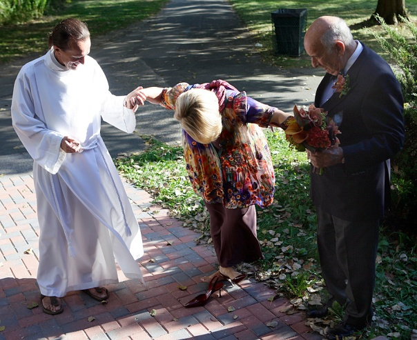 That's him, helping me into my heels before my second wedding