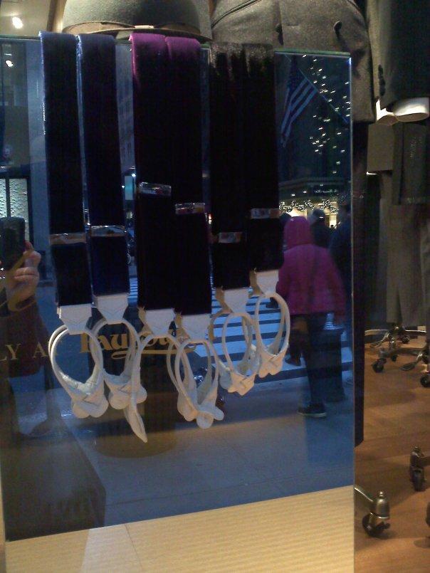 Velvet suspenders. Of course!