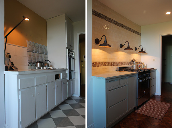 The left is before; the right is after. I designed the kitchen myself