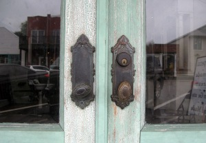 This lovely faded green seemed to appear everywhere; this is the door of an ancient barber shop in town