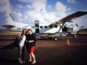 Jennifer and I at Bilwi airport, after arriving in a 12-seater airplane.