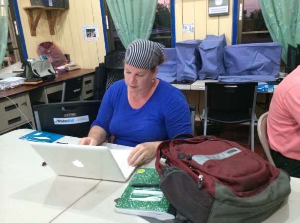 Me, hard at work on assignment in Bilwi, Nicaragua. No smile? OMG!