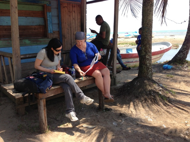 Jennifer and I at the beach; our translator, Dixie, takes a break