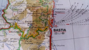 I love the details that maps offer -- like all the ferry routes marked here. My solo week in Corsica, July 1995, was one of the best of my life!