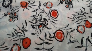 A print on polyester -- I had a long convo with the designer!