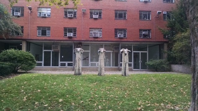 """""""It's the one with he goats in front""""...Pratt's deKalb Hall, built in 1955"""