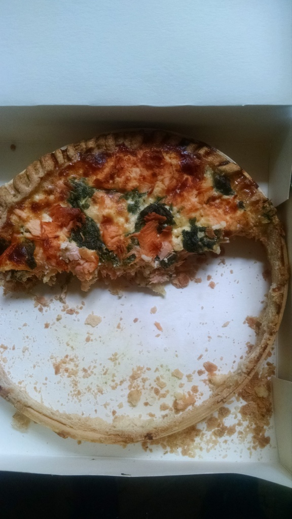 This salmon and spinach quiche cost about $16 from a traiteur gave us several meals and snacks. Delicieux!