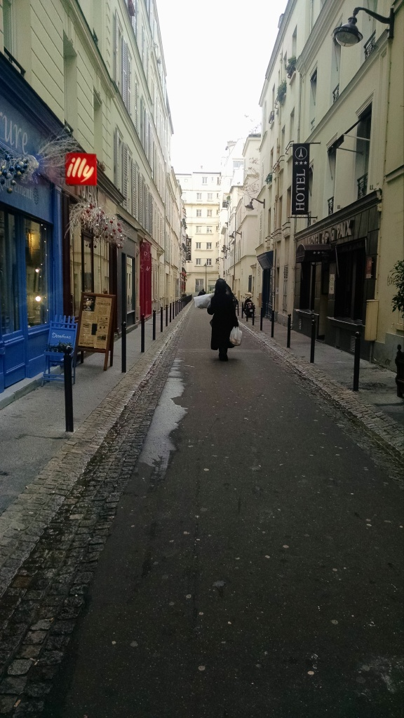 A Paris street -- quite different from anything in the U.S.