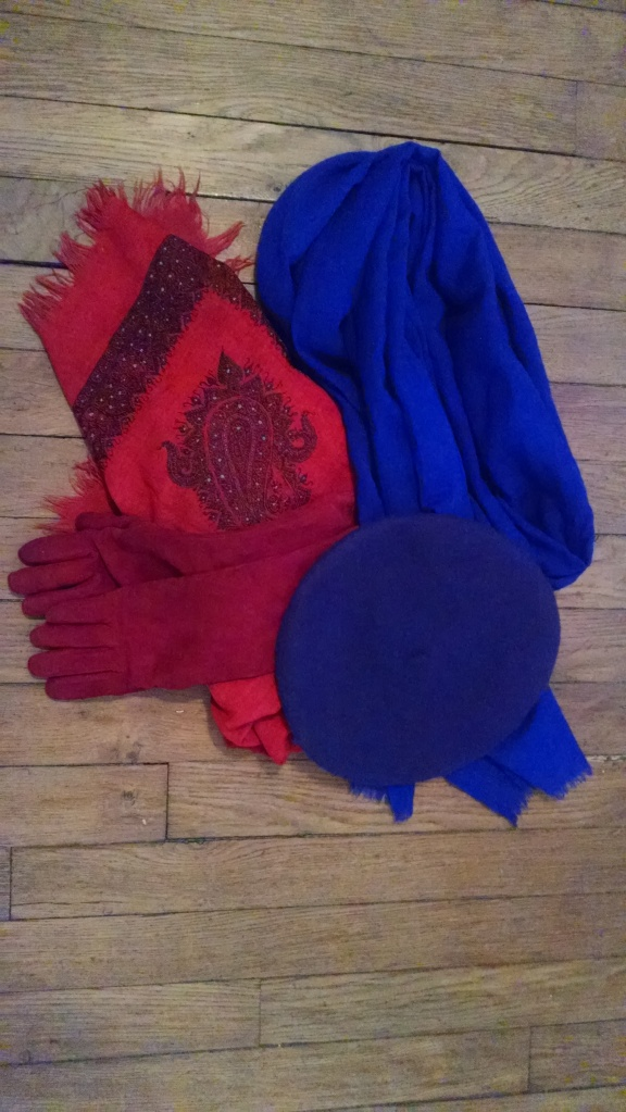 Staying stylish -- and warm! Antique cashmere shawl; red suede wool-lined gloves; J. Crew wool shawl, purple wool beret