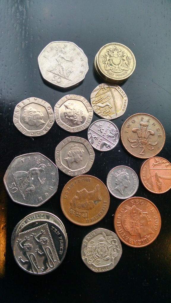 London costs a fortune! Bring money! Lots of it. This pile of coins is barely enough to buy a coffee...