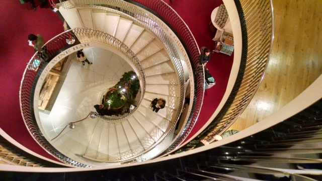 Looking down the stairs at Fortnum & Mason, London