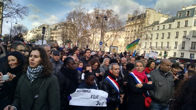 The Paris Unity March, Jan. 11, 2015, which I attended and reported on here at Broadside