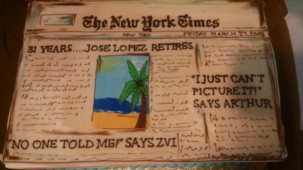 Our amazing local bakery, Riverside Bakehouse in Ardsley, NY, made this great cake -- on 2 days' notice. I wrote the headlines (Arthur is the publisher; Zvi a colleague)
