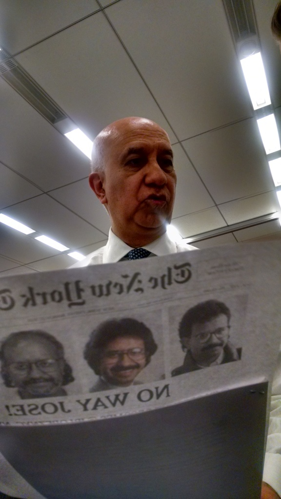 I love this tradition! Every time a NYT staffer leaves, they mock up a fake NYT front page with funny/loving headlines, stories and photos...here are pix of Jose from 1984 onwards, the year he arrived