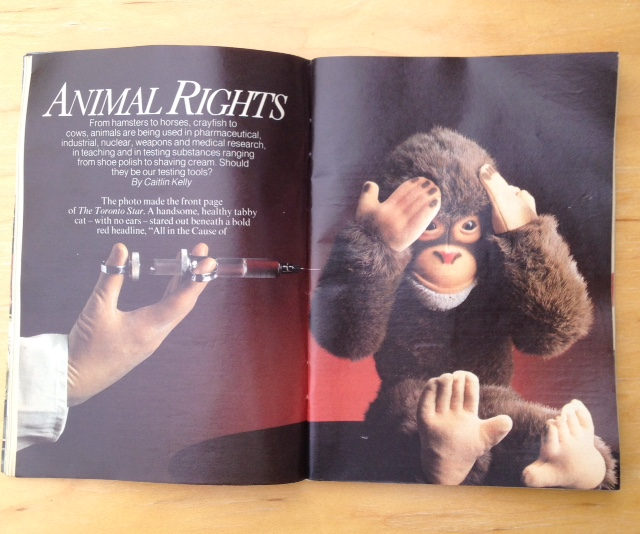 One of my first national magazine stories...I entered an animal testing lab. Grim and gruesome. But it was part of my job as a reporter