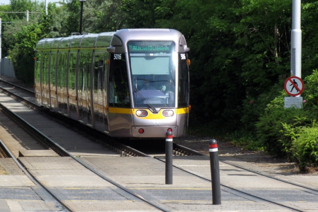 The Luas -- a two-line tram system running through Dublib; Luas means
