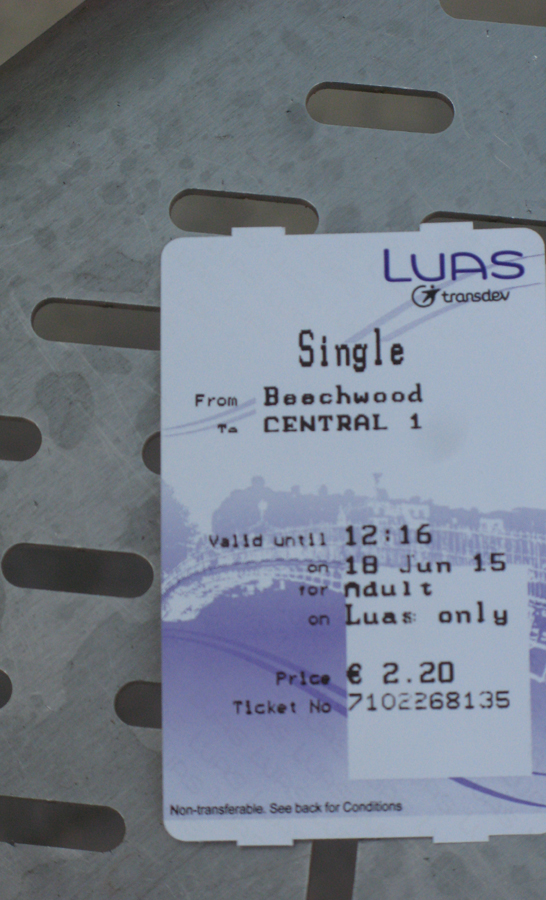 My one-way ticket, 2 euros, 20. The fun bit? The voice telling riders to take their ticket and their change -- and announcing every tram stop in English and Irish -- is that of my Dublin friend, a career broadcaster