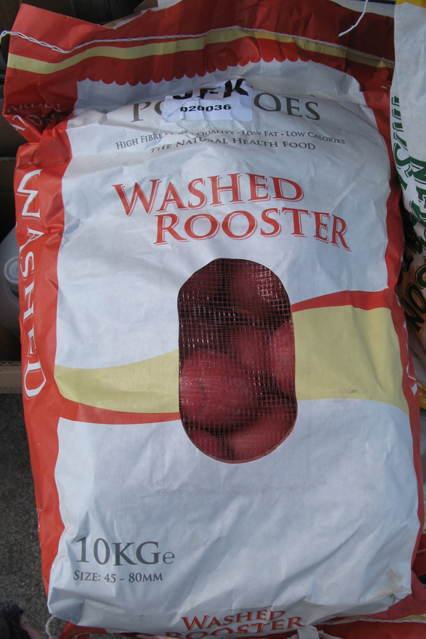 I've never heard of a washed rooster -- Irish potatoes on sale in Dublin