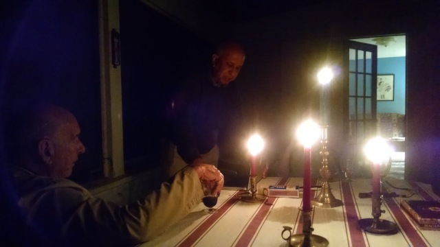 We eat by candlelight every evening