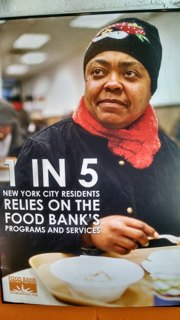 Many people in New York working low-wage jobs need a food bank to help feed their family