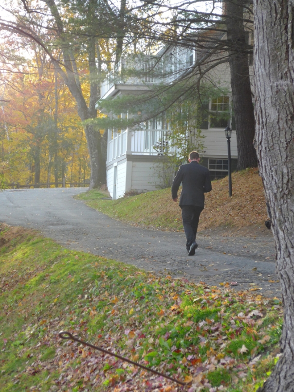 One of three sommeliers, Patrick, walking toward the most distant cabin