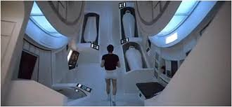 Inside the spaceship -- filmed in a British studio